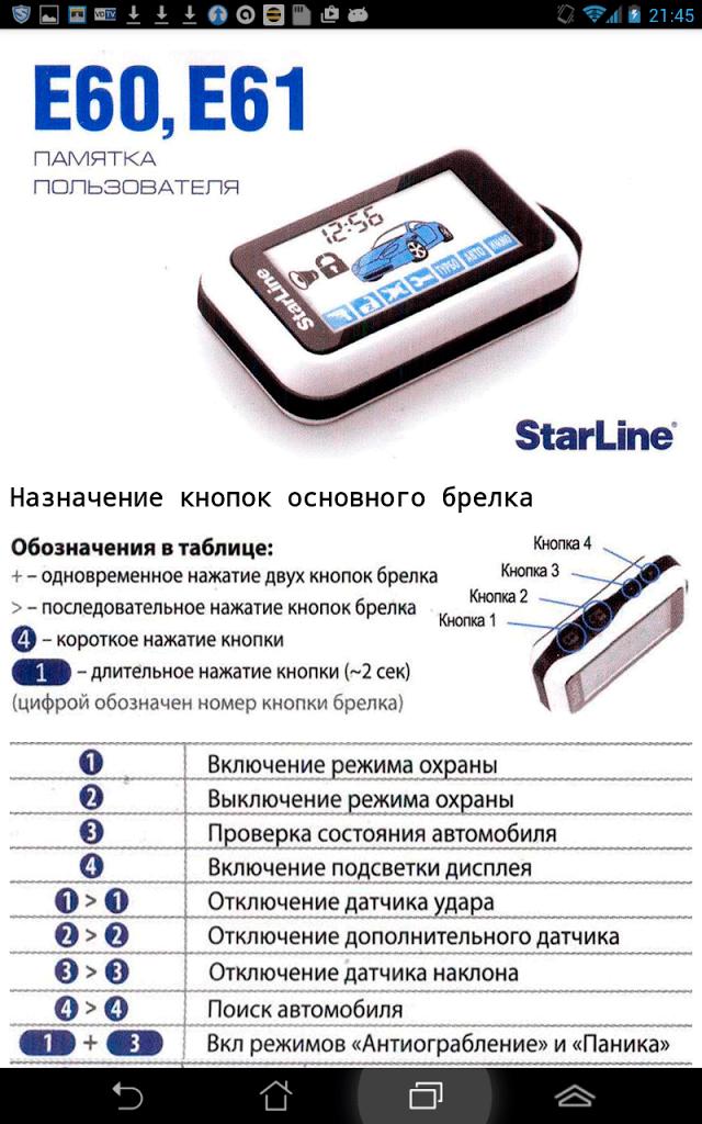 Starline e60 інструкція з експлуатації. Огляд функцій і можливостей автосигналізації starline e60 slave